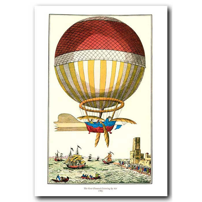 Fine art print for sale. Ballooning: The First Channel Crossing By Air In 1785