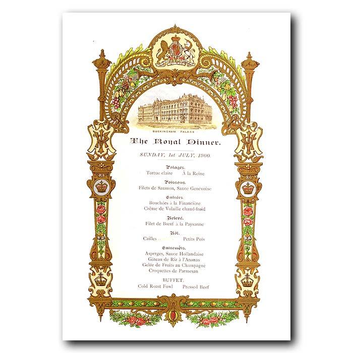 Fine art print for sale. Royal Dinner Menu