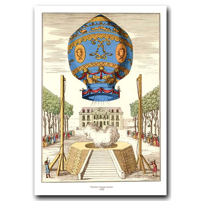 Fine art print for sale. Ballooning: First Ever Voyage Into The Air In 1783