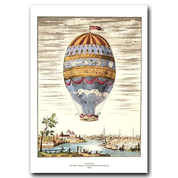 Fine art print for sale. Ballooning – First Aerial Ascent In Strasbourg In 1784