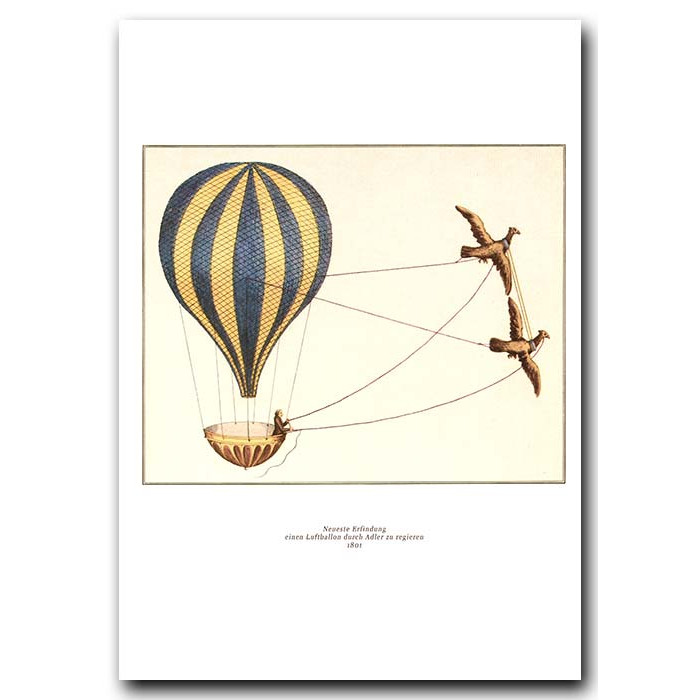 Fine art print for sale. Balloon Pulled By Eagles In 1801