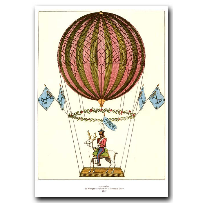 Fine art print for sale. Ballooning: Margat Ascending On His Stag In 1817