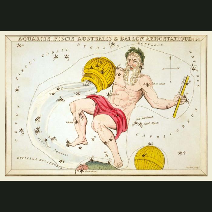 Fine art print for sale. Celestial Map Of Aquarius Zodiac Star Constellation