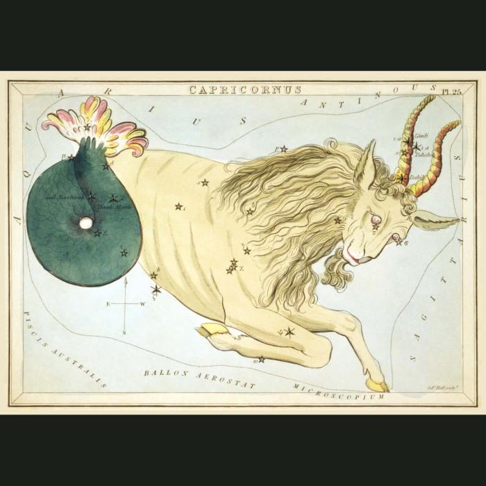 Fine art print for sale. Celestial Map Of Capricorn Zodiac Star Constellation