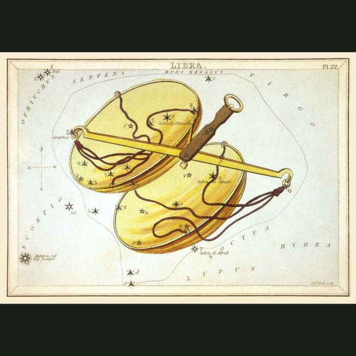 Fine art print for sale. Celestial Map Of Libra Zodiac Star Constellation