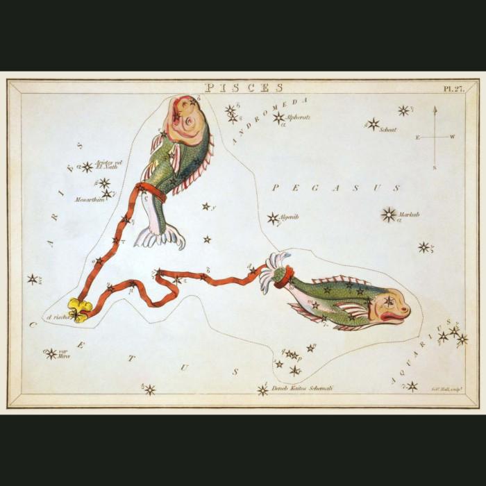 Fine art print for sale. Celestial Map Of Pisces Zodiac Star Constellation