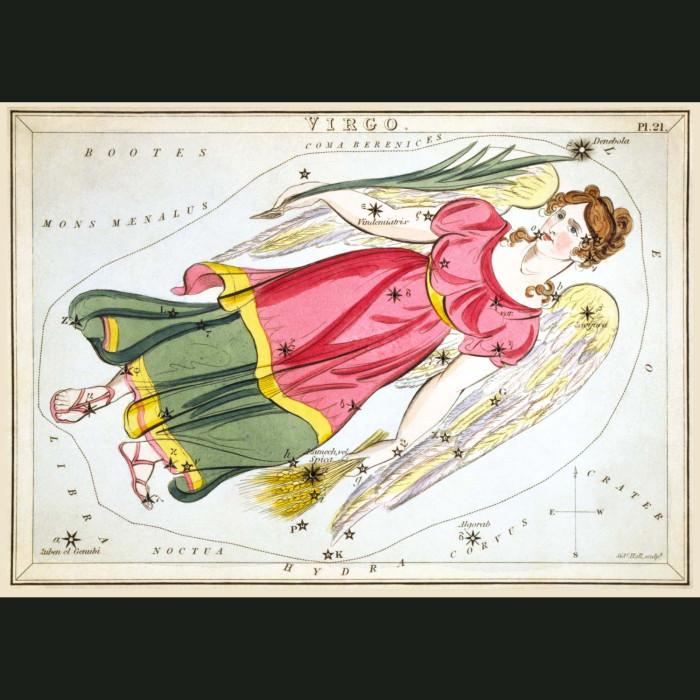 Fine art print for sale. Celestial Map Of Virgo Zodiac Star Constellation