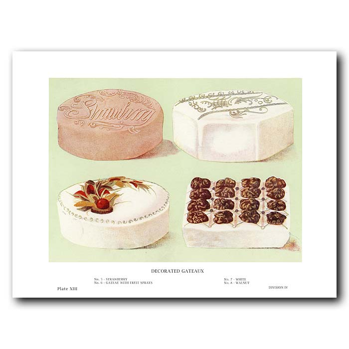 Fine art print for sale. Decorated Gateaux - Strawberry,Walnut,Fruit And White Cakes