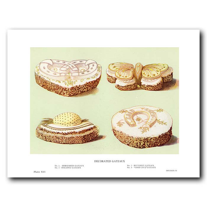 Fine art print for sale. Decorated Gateaux - Pineapple, Butterfly, Horse-Shoes, Good Luck Cakes