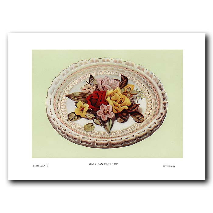 Fine art print for sale. Vintage Cake: Marzipan Flowers Cake Top