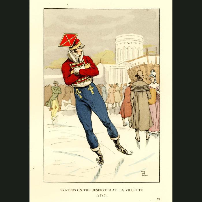 Fine art print for sale. Skaters On The Reservoirs At La Villette