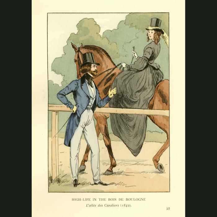 Fine art print for sale. Horsewoman In Paris, 1842