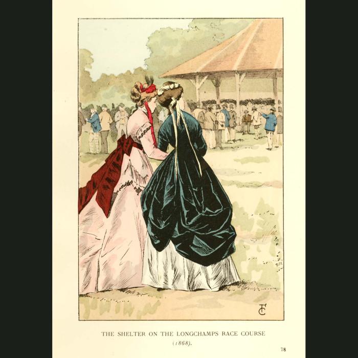 Fine art print for sale. Longchamps Race Course In 1868