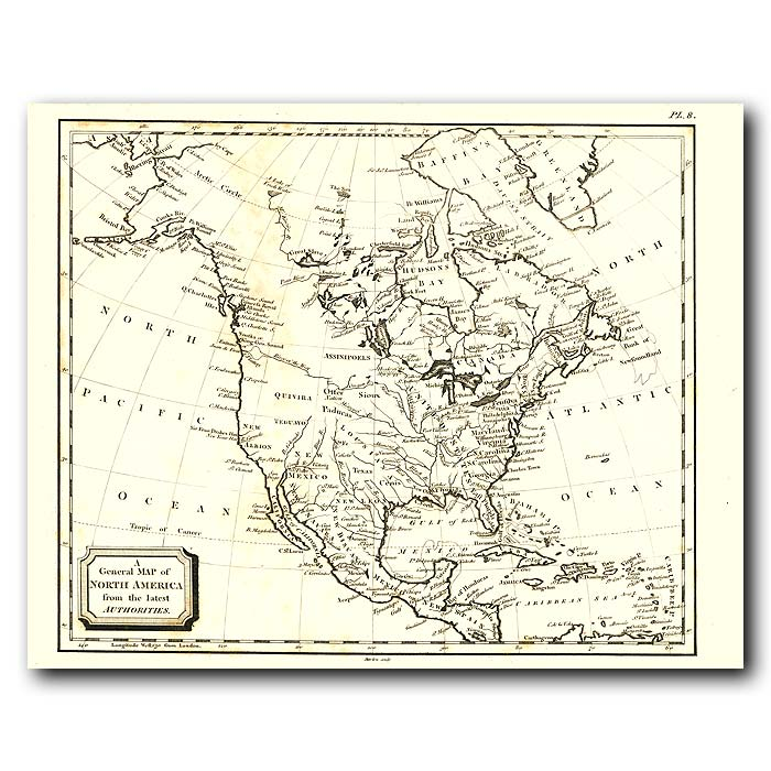 Fine art print for sale. Map Of North America In 1802