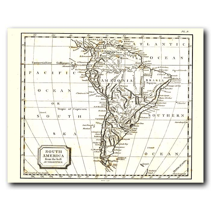 Fine art print for sale. Map Of South America In 1802
