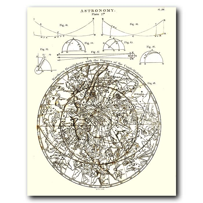 Fine art print for sale. Celestial Map For Northern Hemisphere