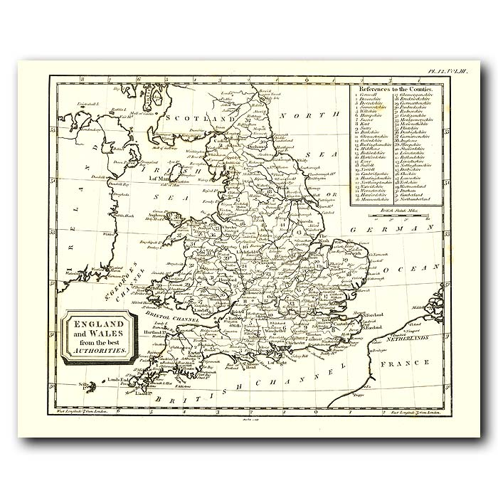 Fine art print for sale. Map Of England And Wales In 1802