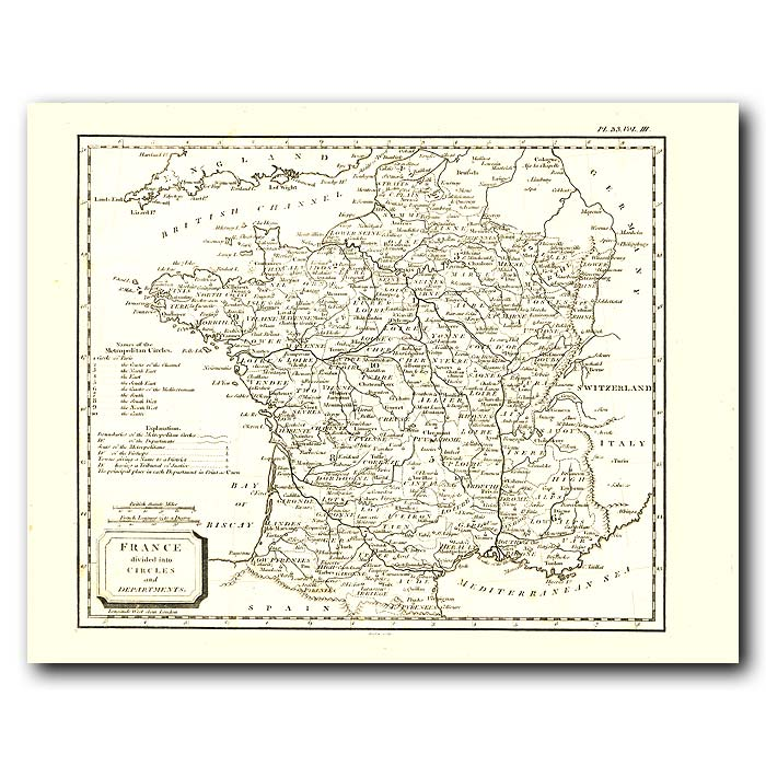 Fine art print for sale. Map Of France In 1802