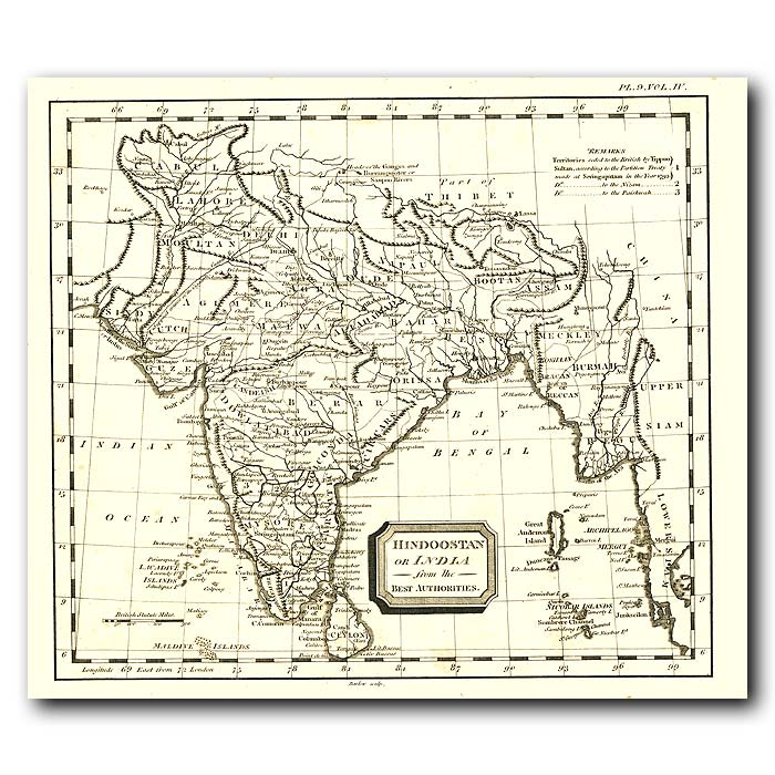 Fine art print for sale. Map Of India In 1802