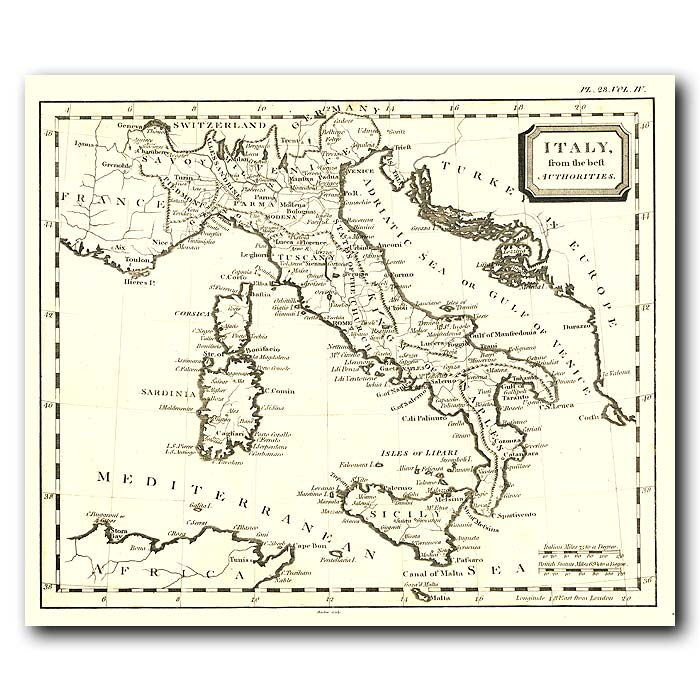 Fine art print for sale. Map Of Italy In 1802