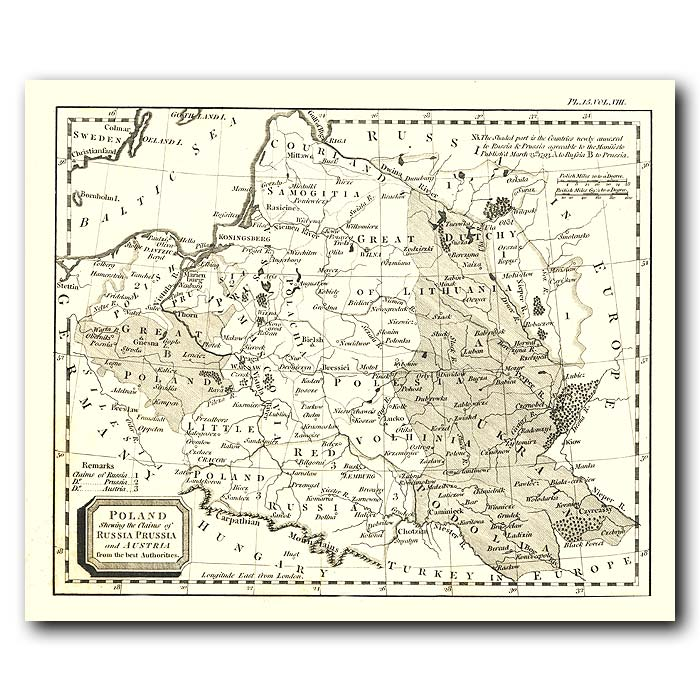 Fine art print for sale. Map Of Poland In 1802