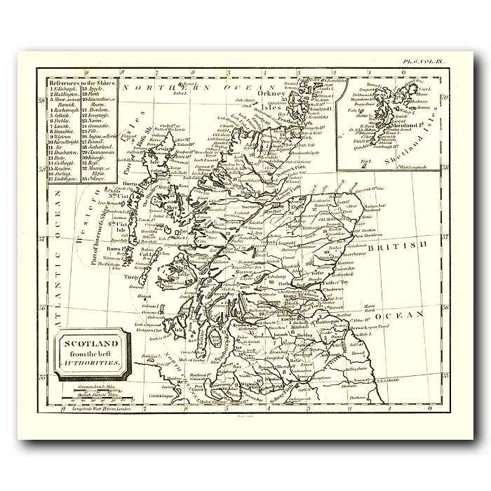 Fine art print for sale. Map Of Scotland In 1802