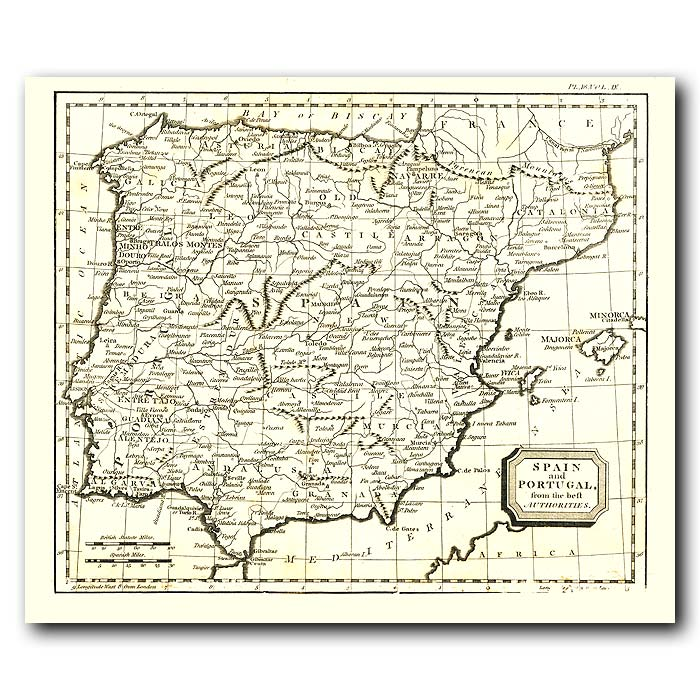 Fine art print for sale. Map Of Spain And Portugal In 1802