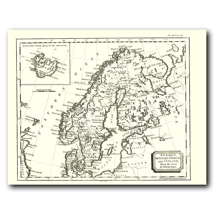 Fine art print for sale. Map Of Sweden, Norway, Finland And Denmark In 1802