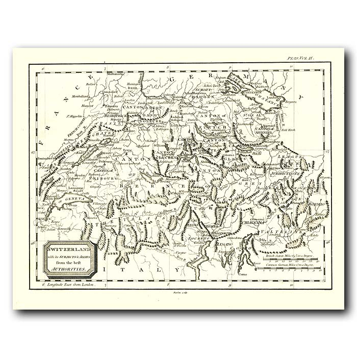 Fine art print for sale. Map Of Switzerland In 1802