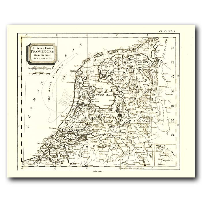 Fine art print for sale. Map Of Holland And Flanders In 1802