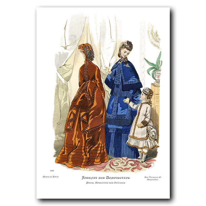 Fine art print for sale. French Fashion: Ladies In Winter Dress