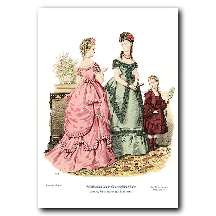 Fine art print for sale. French Fashion: Ladies In Evening Dress