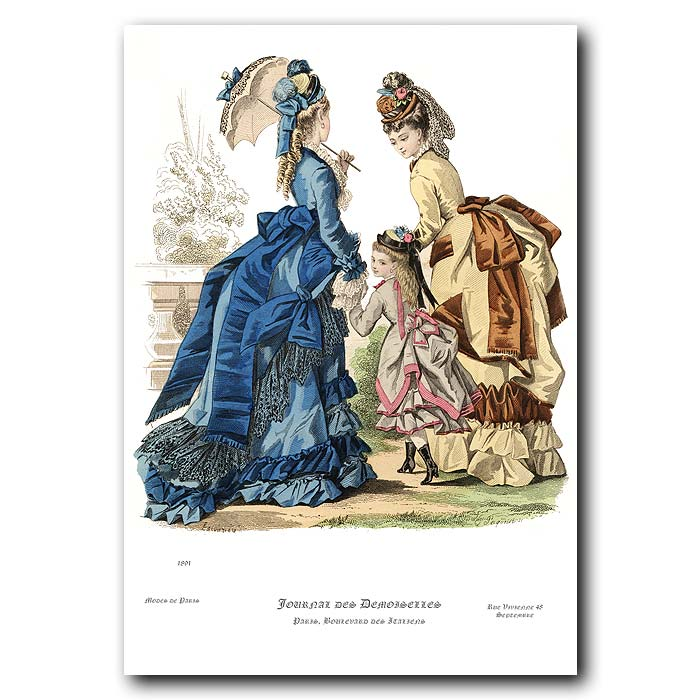 Fine art print for sale. French Fashion: Elaborate Afternoon Dress
