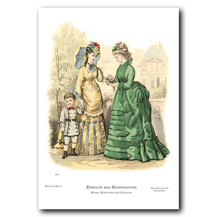 Fine art print for sale. French Fashion: Ladies In Afternoon Dress