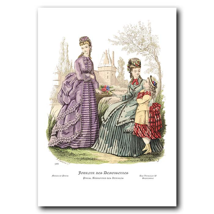 Fine art print for sale. French Fashion: Ladies In A Garden