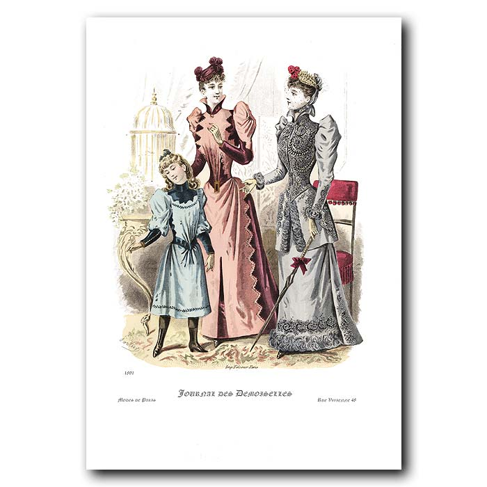 Fine art print for sale. French Fashion For Young Ladies