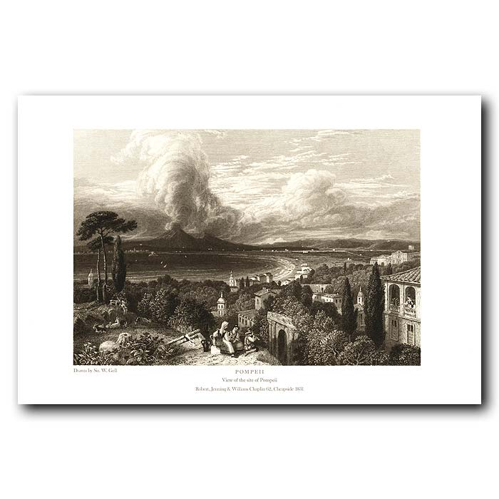 Fine art print for sale. Pompeii: View Pompeii And Vesuvius Volcano