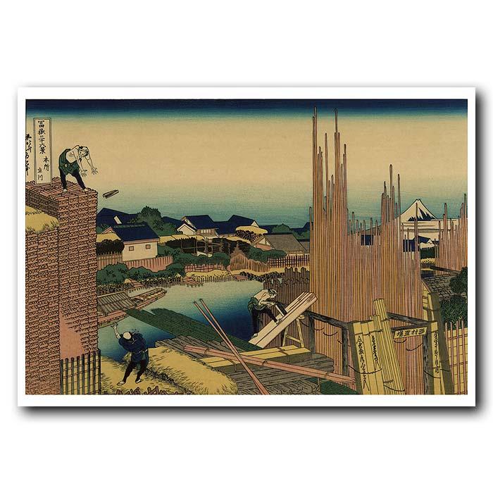 Fine art print for sale. Men Building And Mt.Fuji