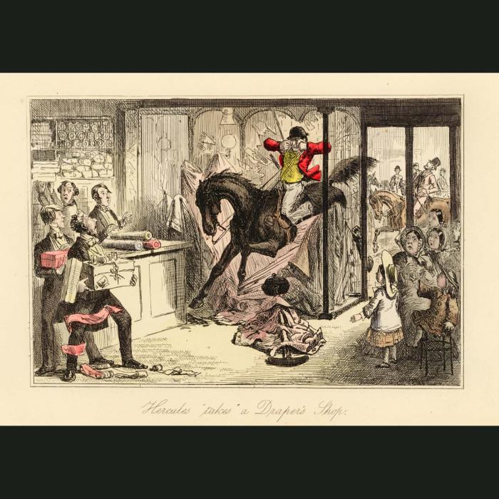 Fine art print for sale. Hercules 'takes' a Drapers shop