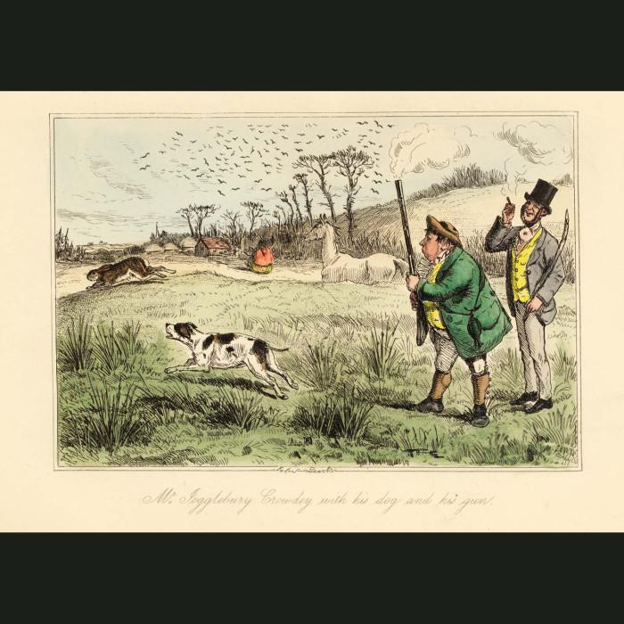 Fine art print for sale. Mr Jogglebury Crowdey, dog & gun