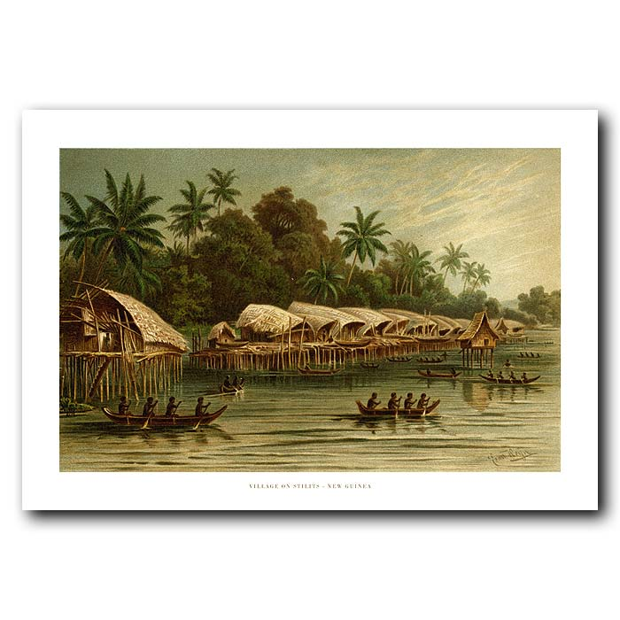 Fine art print for sale. Village On Stilts In New Guinea