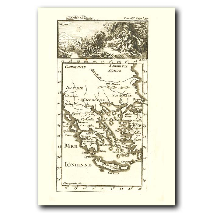 Fine art print for sale. Map Of Greece