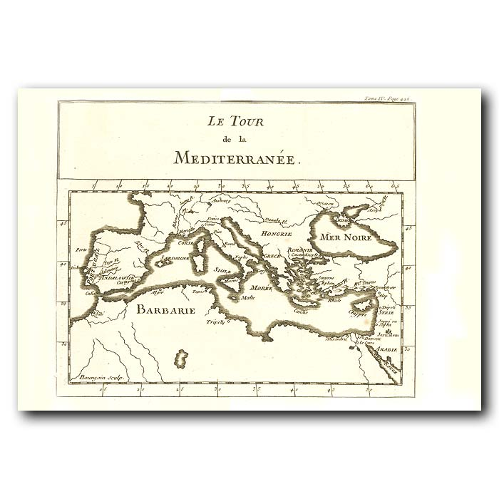 Fine art print for sale. Map Of The Mediterranean