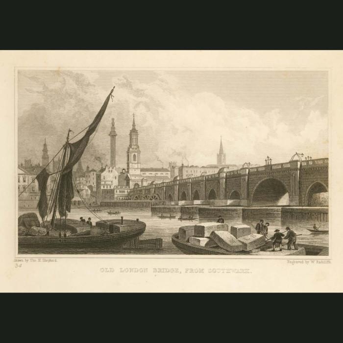 Fine art print for sale. Old London Bridge from Southwark