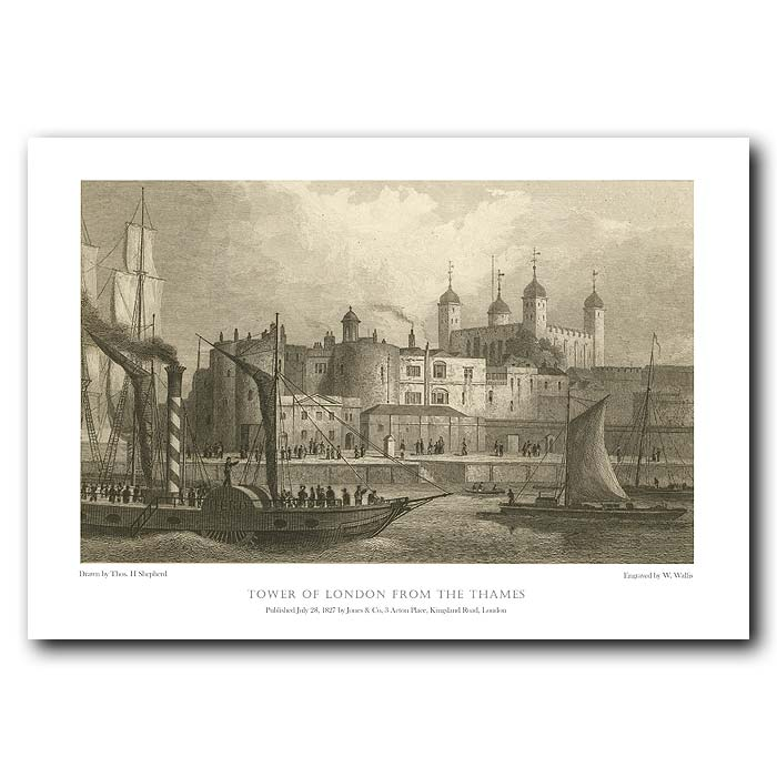 Fine art print for sale. Tower of London from the Thames